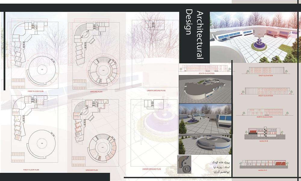 پروژه معماری – پروژه کامل خانه کودک (فایل اتوکد ، پوستر ، PSD)